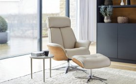 G Plan Lund Manual Recliner Chair & Stool (Full Veneered Side Panel Only)
