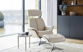 G Plan Lund Manual Recliner Chair & Stool (Veneer & Upholstered Sides)