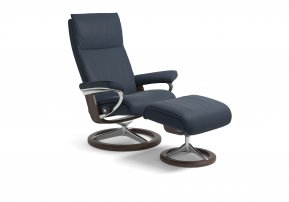 Stressless Aura Small Recliner Chair & Footstool (Signature Base)