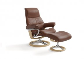 Stressless View Medium Recliner Chair & Footstool (Signature Base)